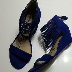 Royal Blue suede wedges